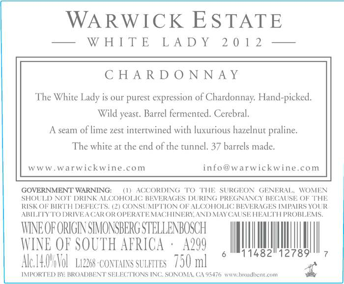 Warwick Estate White Lady