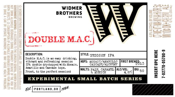Widmer Brothers Brewing Company Double M.A.C