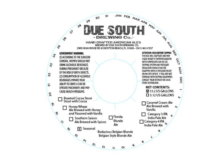 Due South Brewing Co Bodacious Belgian Blonde