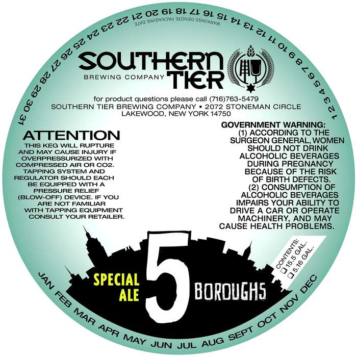 Southern Tier Brewing Company 5 Boroughs Special Ale